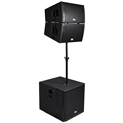 Seismic Audio - SAXLP-PKG2 - Powered 18 Inch Line Array Subwoofer, Two Powered 12 Inch Line Array Speakers and Mounting Pole - Live Sound Line Array System
