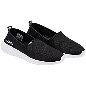 adidas NEO Women's Lite Racer Slip On W Casual Sneaker (7 B(M), Black/White)