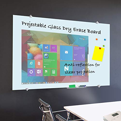 (ZHIDIAN Glass Dry Erase Board, Magnetic White Board for Wall, 100 inch 16:9 HD Projection Projector Screen with 2 Markers, 4 Neodymium Magnets, 2 Eraser)