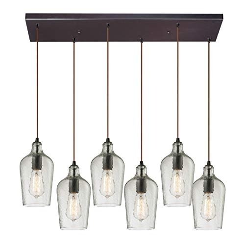 RC-CLR Hammered Glass Collection 6 Light Chandelier, 10 x 9 x 30