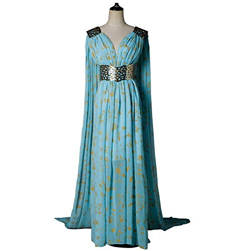 Xfang Women's Chiffon Dress Halloween Cosplay Costume Blue Long Train Dress -