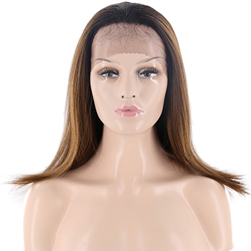 Tress Synthetic Wig - X-TRESS Synthetic Lace Front Wigs Straight For Black Women Glueless Heat Resistant 20Inch Shoulder Length Hair Middle Long Hair Straight Wigs With Baby Hair For Black Women (OP430)