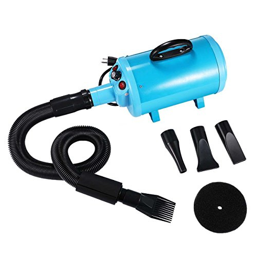 Black Plastic Slimline Body (NEW Blue Portable Pet Grooming Hair Dryer Dog Cat Blow Blaster Hairdryer Blower 4 Nozzles Material Steel Body + Plastic Nozzle + PU Bellow)