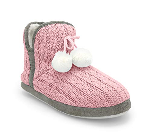 Junies Womens Plush Fur Lined Slip-on Cable Knit Slipper Bootie