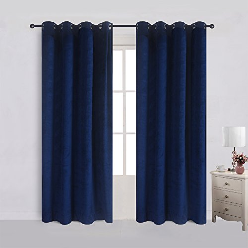 Velvet Flannel Blackout Curtains Panel Drapes Grommet Draperies Eyelet 52Wx96L inch Navy Royal Blue(2 panels)Theater| Bedroom| Living Room| Hotel ()