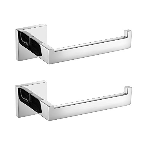 Leyden 2 Pieces Wall Mount Chrome Finish Stainless Steel Toilet Roll Paper Holder Bathroom Accessory by Leyden
