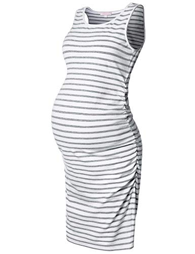 Maternity Tank Dress,Sleeveless Midi Bodycon Dresses for Pregnant Women,Casual Ruched Sides,Grey Striped XL