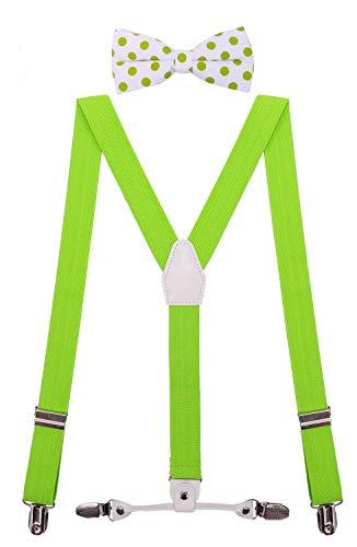 CEAJOO Little Boys' Suspenders Adjustable with Polka Dot Bow Tie Set 30