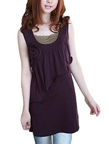 Damen Träger Volants Vorne Pullover Dehnbar Tunika - Dunkles Violett, Damen, Small