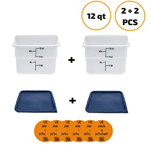 Cambro 12SFSP148 12 Qt. White Poly CamSquare Food Storage Container (2 pcs) with Cambro SFC12453 Midnight Blue Square Polyethylene Lid (2 pcs) - w/coasters
