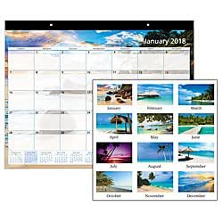 Office Depot(R) Brand Monthly Desk Pad Calendar, 22in. x 17in., 30% Recycled, Paradise, January to December 2018