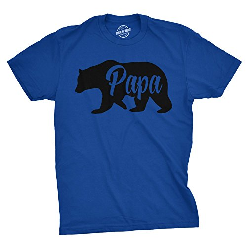 Mens Papa Bear Funny Shirts for Dads Gift Idea Novelty Tees Family T Shirt (Blue) - XL