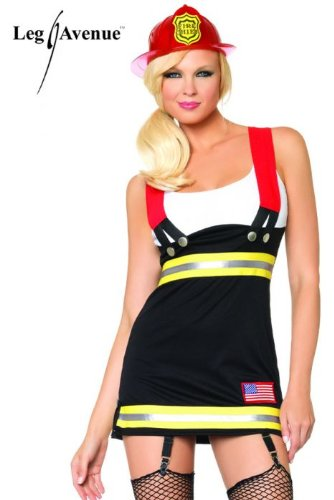 [Leg Avenue Women's Backdraft Babe Firefighter Costume, Black/White, Medium] (Womens Tank Dress Wonder Woman Costumes)