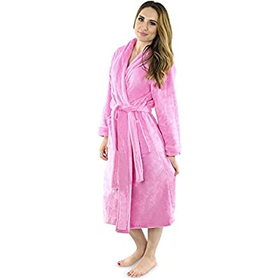Women's Fleece bathrobe- Shawl Collar ultra-soft spa robe- Comfortable, absorbent and Durable - by NY THREADS
