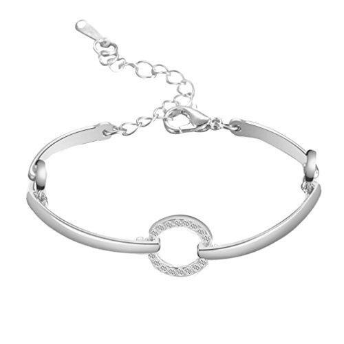 - LLguz Simple Charm Women Fashion Personality Circular Ring Bracelet Alloy Geometric Type Bracelet Ornament Jewelry (Silver)