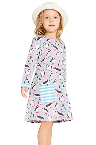 Little Bitty girl printed flower casual toddler cotton long sleeve girl dress,Grey Penguin Printing,9-10 Years ()