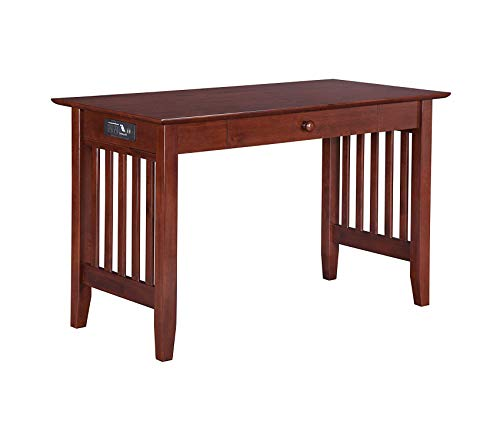- Office Home Furniture Premium Furniture Mission Desk with Drawer and Charging Station, Walnut