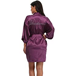 The Bund Women's Short Kimono Robes for Bridesmaid Violet M Size