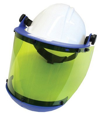 (National Safety Apparel Level 2 Faceshield Unit With Slotted Hard Hat, Arc 10 Green Propionate Faceshield With Anti-Fog Coating And Chin Guard by National Safety Apparel Inc)
