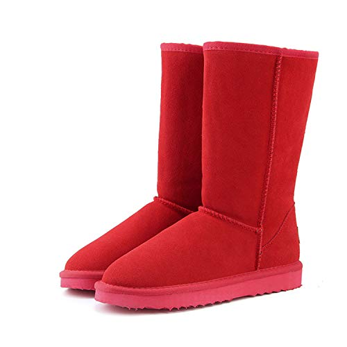 - Genuine Leather Fur Snow Boots Women Top Boots for Women Warm Botas Mujer,Red,11