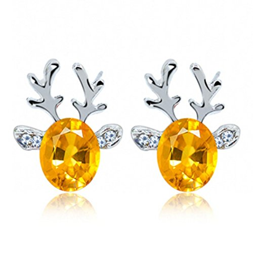 Earrings, Litetao Womens Girls Crystal Gemstone Earrings Luxury Three Dimensional Reindeer Earing Anniversary Engagement Party Wedding Gift -