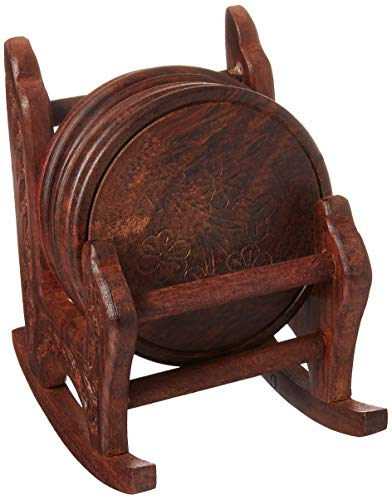 SouvNear COMINHKPR62954 Rocki 5 Inches Wood Drink Set with 6 Round Table Brown Rocking Chair Coaster Holder, one Size -
