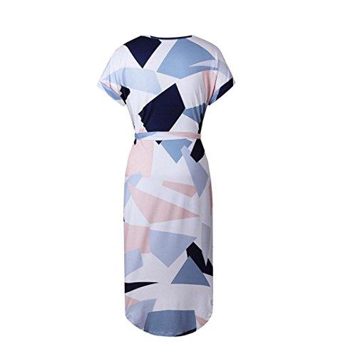... Asymmetrische Kleider Abendkleid Knielang, ZEZKT Sommerkleider Damen  Kurzarm V-Ausschnitt Strand ... d502c033e7