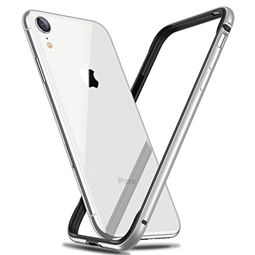 RANVOO iPhone XR Bumper Case, Hard Slim Thin Metal Case with Soft TPU Inner Frame Case for iPhone XR 6.1 Inch-Silver