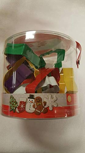Wilton 12 Pc Full Size Metal Cookie Cutter Set Christmas Gift Set Bucket (White Snowflakes Metal)
