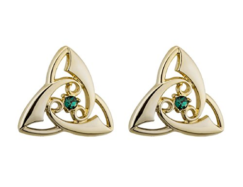 Trinity Knot Earrings Gold Plated & Crystal Irish Made Trinity Knot Earrings