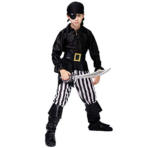 DSplay Kid's Boy Pirate Costume (7-9Y) Black]()