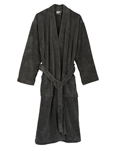 (TowelSelections Super Soft Plush Kimono Bathrobe Fleece Spa Robe for Men Medium/Large Frost Gray)