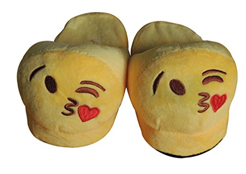 Bonus Plush (ThermaX Kid's Emoji Slippers - Plush, Non-Skid, Unisex, Bonus Emoji Pen - Great Gift (30-31, Blow Kiss Brown))