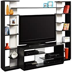 Ameriwood Home Watson Entertainment Center with Reversible Back Panels, Black