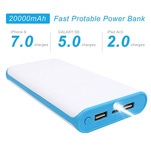 (VUOHOEG 20000mAh Portable Charger External Battery Ultra-Compact Pack Backup Power Bank with Dual USB Ports Replacement for iPhone, iPad Mini, Samsung, Nexus, HTC, Huawei, More Phones and Tablets)