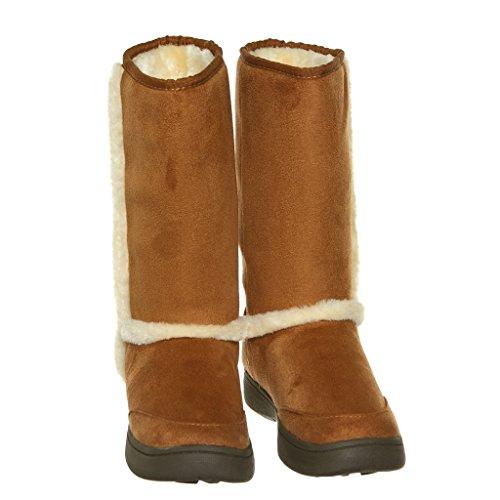 Shoew Qualunque Donna Foderato In Pelliccia Shearling Caldo Stivali Invernali In Microfibra A Metà Polpaccio Natfs01
