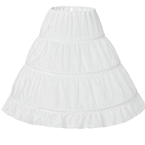 (Lanbaodress Girls' 3 Hoops Petticoat Skirt Flower Girl Crinoline Underskirt 7-13Years White)