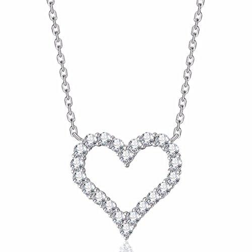 Cubic Zirconia Open Heart Pendant (Caperci Sterling Silver and Cubic Zirconia Open Heart Pendant Necklace,)