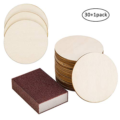 30 Set Unfinished Wood Pieces 4 Inch Round Blank Cutouts Tiles for DIY Coasters, Crafts, Ornament Decor, Wood Burning, Painting