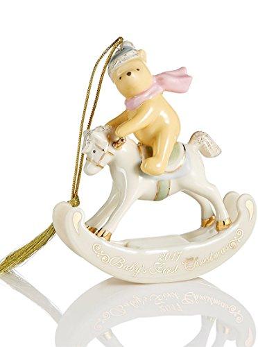 Lenox Disney 2017 Winnie The Pooh on rocking horse Baby's 1st Christmas - Lenox Christmas Babys First