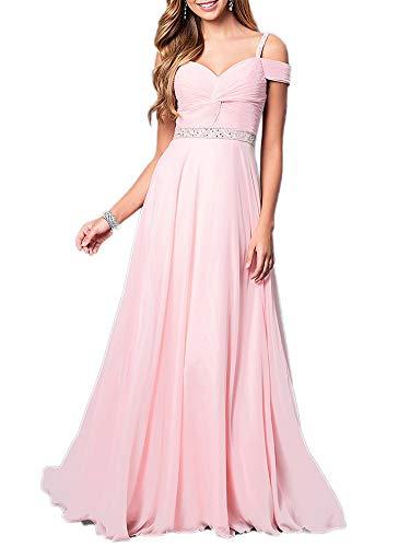 - Aox Women's Formal Chiffon Sleeveless A Line Halter Long Maxi Party Evening Dress Skirt (3XL, Pink Strap)