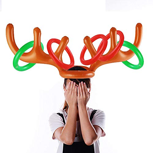 Wffo 2PC Inflatable Reindeer Hat Antler Ring Toss Holiday Party Game Toys (Colorful)