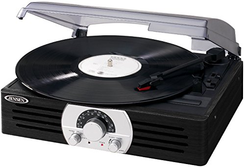 Jensen JTA-222SE 3-Speed Stereo Turntable with AM/FM Stereo Radio - Black/Silver