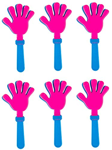 Hand Clappers- 6-Pack Plastic Noisemakers, Perfect Party Favors and Prizes for Kids Birthday Parties and Celebration Events, Green, Blue and Pink, 5.5 x 11.4 -