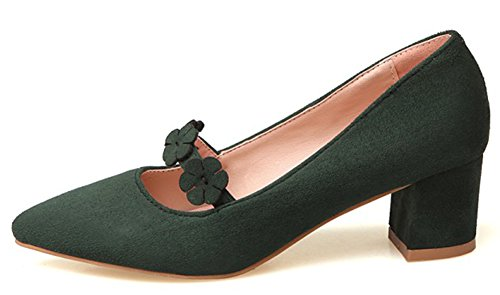 Easemax Womens Sweet Flowers Tacco Medio In Pelle Scamosciata Con Faux Suede Mary-jane Verde