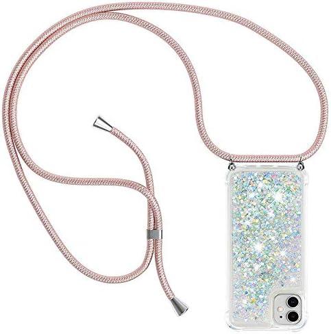 Ptny Case Funda Colgante movil con Cuerda para Colgar Samsung Galaxy J3 2016 Carcasa Correa Transparente de TPU con Cordon para Llevar en el Cuello con Ajustable Collar Cadena Cord/ón en Oro Rosa