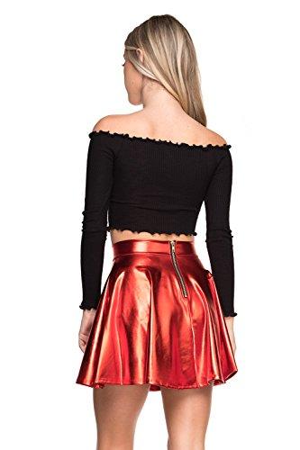 Women's J2 Love Faux Leather Back Gold Zip Mini Skater Skirt, Large, Red Metallic