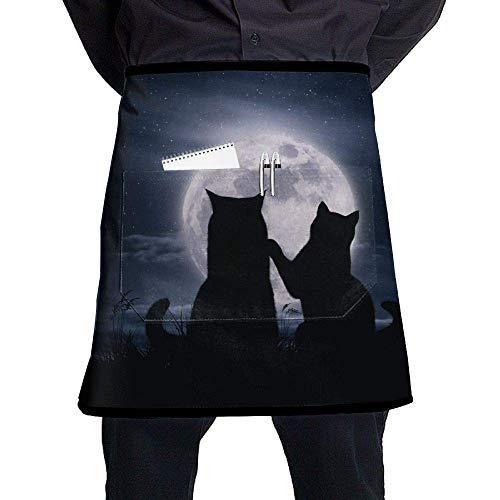 Han Jun Hua Multicolour Cats Love Moon Silhouette Chef Aprons Bar Custom Half-Length Waist Apron Stitching Pocket£¬Easy to Clean -