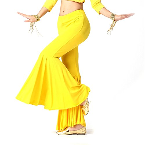 Belly Dance Costume Tribal Dancewear Cotton Large Belly Pants Soft Belly Dancing Outfits Yellow (Belly Dance Costumes Large Ladies)