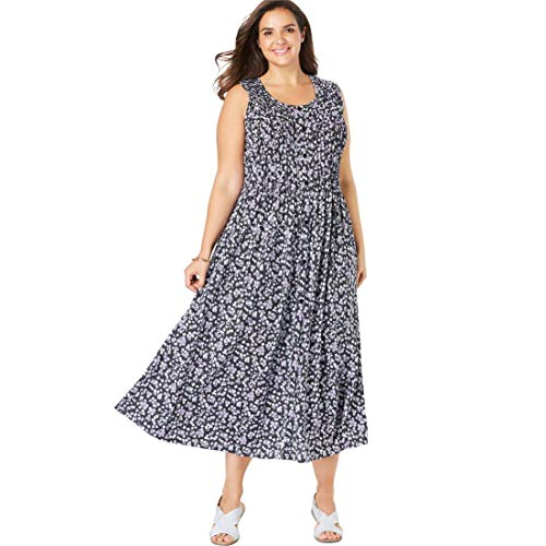 Pintuck Dot Dress (Woman Within Women's Plus Size Pintucked Floral Sleeveless Dress - Amethyst Dot Floral, L)